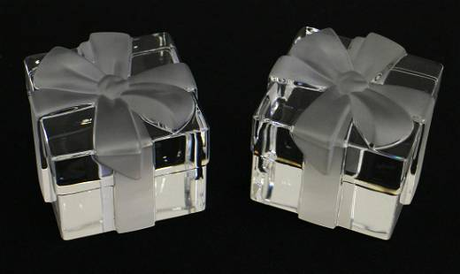 (2) TIFFANY GIFT BOX PAPERWEIGHTS