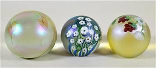 (3) ART GLASS PAPERWEIGHTS