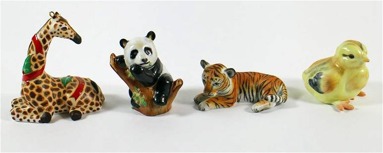 (3) HEREND AND (1) LYNN CHASE FIGURINES