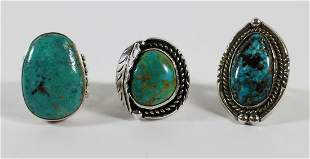 (3) NATIVE AMERICAN STERLING TURQUOISE RINGS