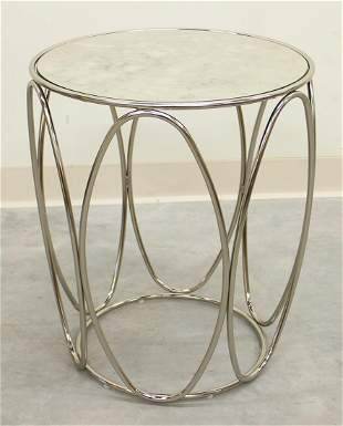 CHROME SIDE TABLE WITH MIRROR TOP