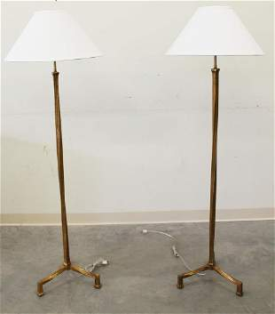 (2) HAND FORGED IRON & GOLD LEAF FLOOR LAMPS