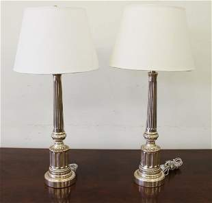 (2) VENETIAN SILVER TABLE LAMPS