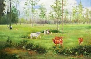 J SCHUMACHER COWS PAINTING