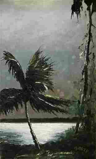 ALFRED HAIR NIGHT PALM HIGHWAYMEN PAINTING
