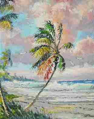 SAM NEWTON PALM TREE BEACH HIGHWAYMEN PAINTING