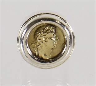 18K STERLING LOGOS CAVIAR ANCIENT COIN RING
