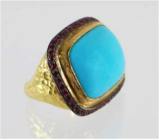 22K PERSIAN BLUE TURQUOISE & RUBY RING