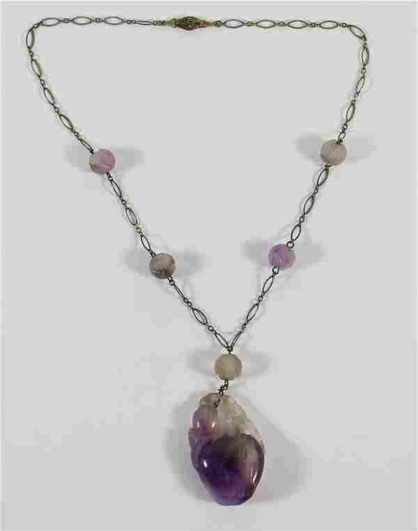 ANTIQUE CHINESE LAVENDER JADE NECKLACE
