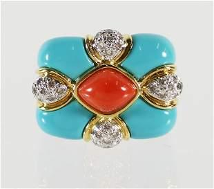 18K TURQUOISE CORAL & DIAMOND RING