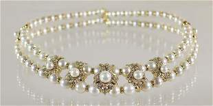 GIOVANE 18K PEARL & DIAMOND CHOKER NECKLACE