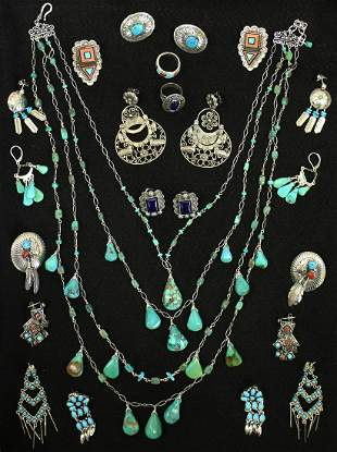 NATIVE AMERICAN STERLING & TURQUOISE JEWERLY