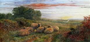 GEORGE SHALDERS SHEEP AT DUSK PAINTING