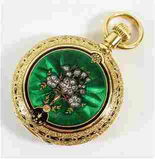 18K DIAMOND & ENAMEL ALFRED GIRARD POCKET WATCH