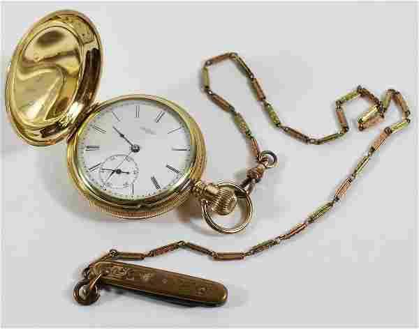 19TH CENTURY 14K ELGIN POCKET WATCH & G.F. FOB
