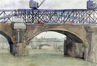 U.K. BRIDGE WATERCOLOR PAINTING
