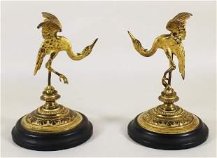 (2) GOLD GILT METAL CRANE BIRDS