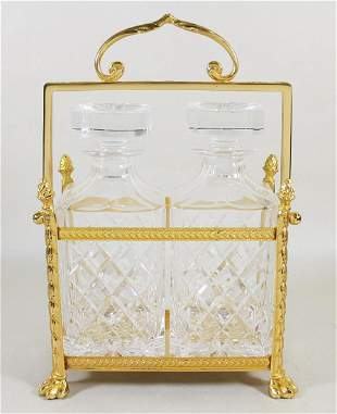 GOLD GILT CADDY & DECANTERS