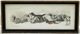 BORIS O'KLEIN DOGS ETCHING