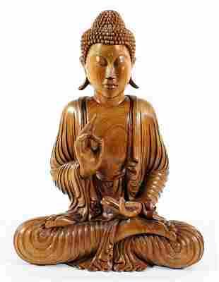CARVED WOOD BUDDHA FIGURE