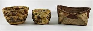 (3) VINTAGE NATIVE AMERICAN INDIAN BASKETS