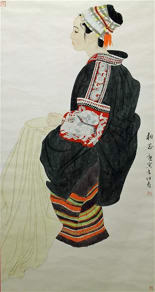LARGE CHINESE PAINTING OF A YOUNG WOMAN SEWING