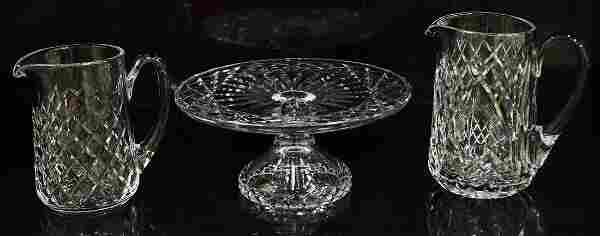 WATERFORD CRYSTAL CAKE STAND & PITCHERS
