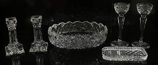 WATERFORD CRYSTAL CANDLE HOLDERS & BOWLS