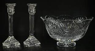 WATERFORD CRYSTAL BOWL & CANDLESTICKS