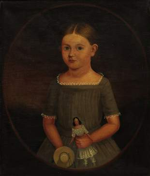 FOLK ART YOUNG GIRL WITH DOLL PAINTING