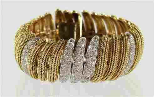 14K YELLOW & WHITE GOLD DIAMOND BRACELET