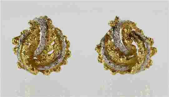 18K DIAMOND NUGGET STYLE EARRINGS