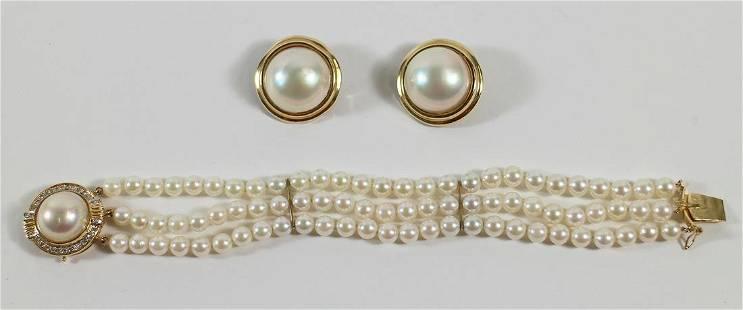 14KT PEARL & DIAMOND BRACELET & MABE EARRINGS