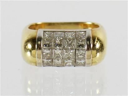 18K PRINCESS CUT DIAMOND RING