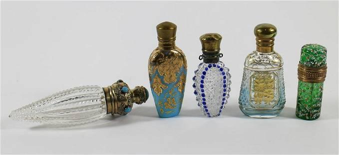 (5) ANTIQUE GLASS SCENT BOTTLES