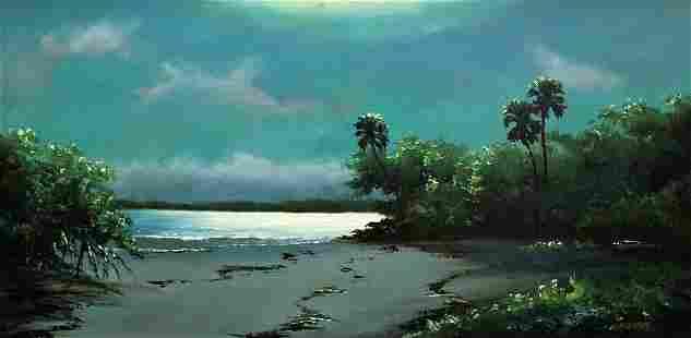 HAROLD NEWTON NIGHT BEACH HIGHWAYMEN PAINTING