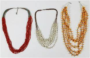 NATIVE AMERICAN CORAL TURQUOISE SHELL NECKLACES