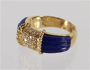 18KT LAPIS LAZULI & DIAMOND RING