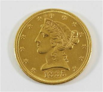 1885-S $5 LIBERTY HEAD GOLD COIN