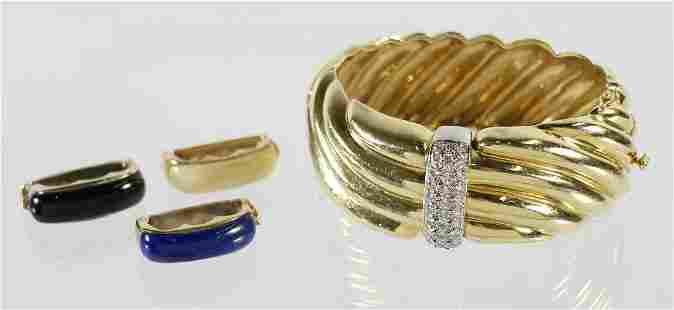 14K YELLOW GOLD BRACELET & INTERCHANGEABLE ACCENTS