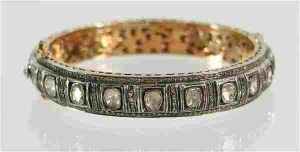 14K GOLD & SILVER 12.50 CARAT DIAMOND BANGLE