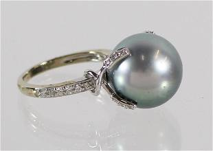 14K BLUE TAHITIAN PEARL & DIAMOND RING