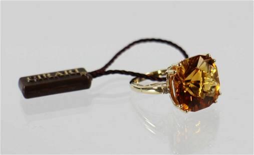 14K 11.69 CT CITRINE & DIAMOND RING