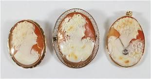 (3) GOLD VICTORIAN HABILLE CAMEO BROOCH PENDANTS