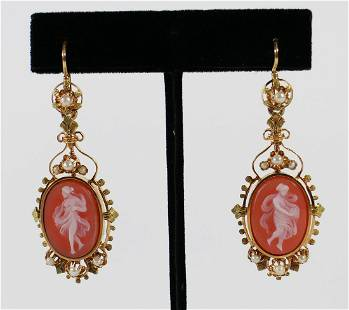 18K GOLD VICTORIAN DANCING NYMPHS CAMEO EARRINGS