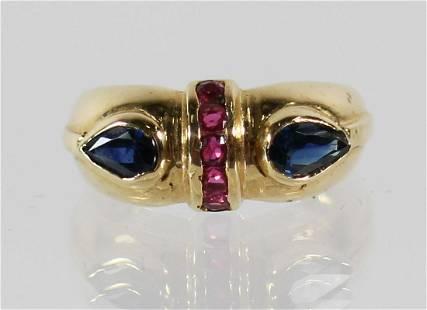 14K BLUE SAPPHIRE & RUBY RING