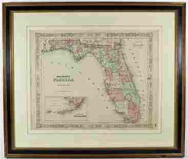 19TH CENTURY MAP OF FLORIDA
