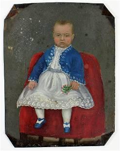 19th CENTURY FOLK ART BABY BOY PAINTING