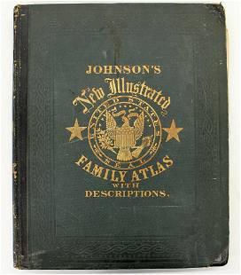 JOHNSON & COLTON NEW ILLUSTRATED FAMILY ATLAS 1861