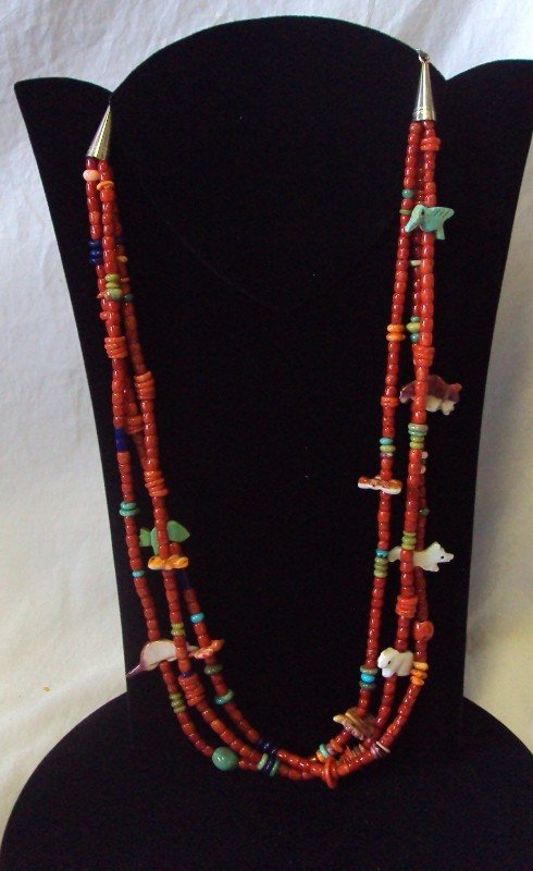 3: Coral Fetish Necklace Native American
